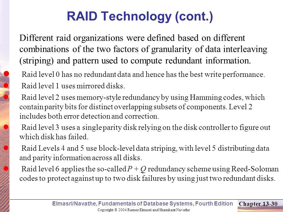 RAID Technology (cont.)