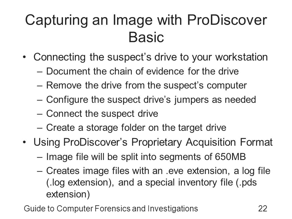 Capturing an Image with ProDiscover Basic