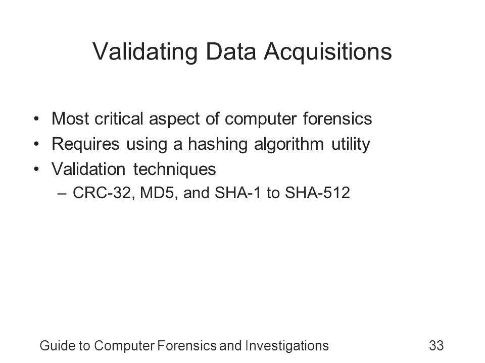 Validating Data Acquisitions