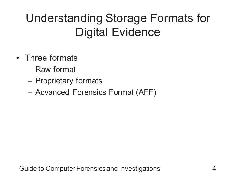 Understanding Storage Formats for Digital Evidence