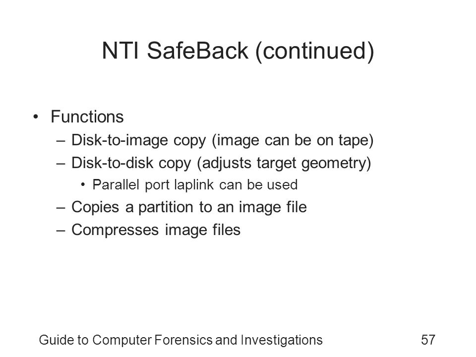 NTI SafeBack (continued)