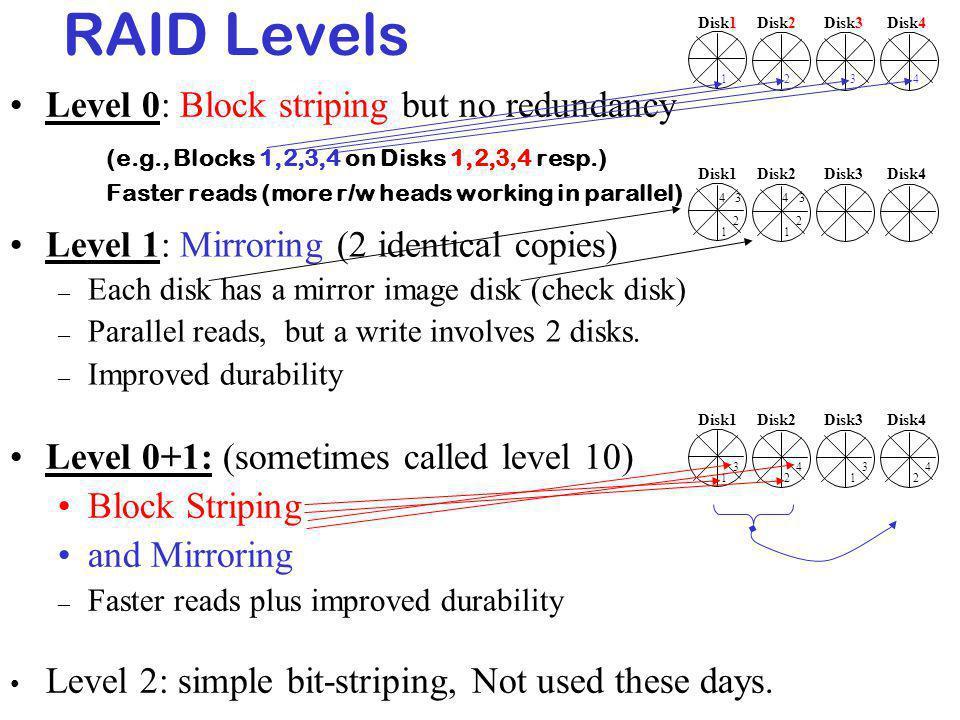 RAID Levels Level 0: Block striping but no redundancy