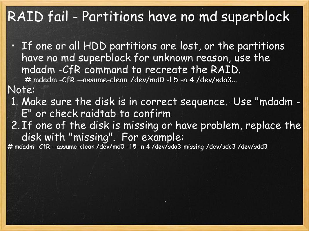 RAID fail - Partitions have no md superblock