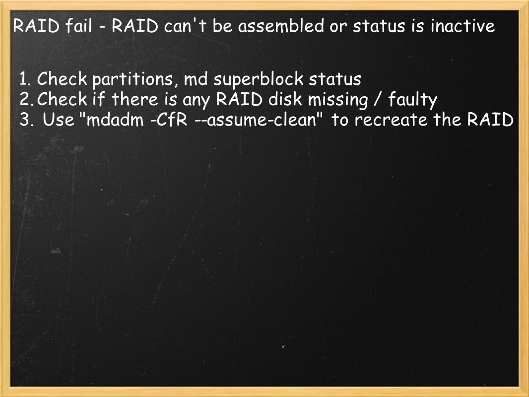 RAID fail - RAID can t be assembled or status is inactive