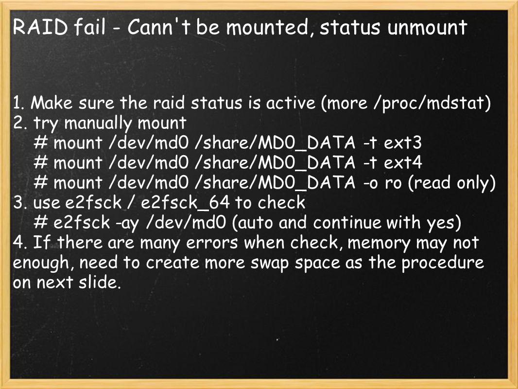RAID fail - Cann t be mounted, status unmount