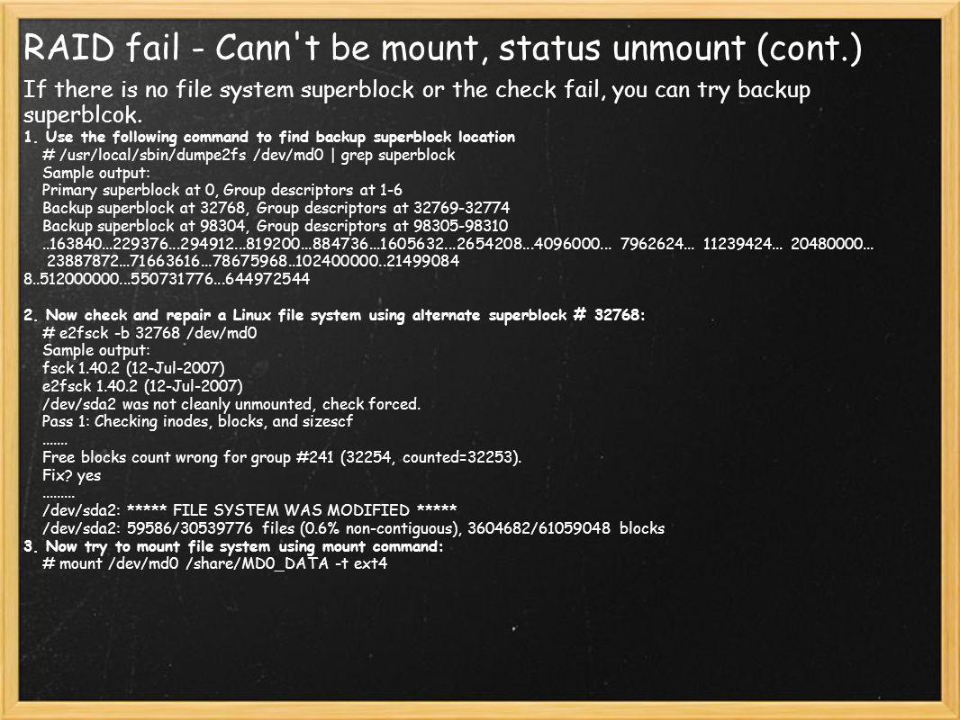 RAID fail - Cann t be mount, status unmount (cont.)