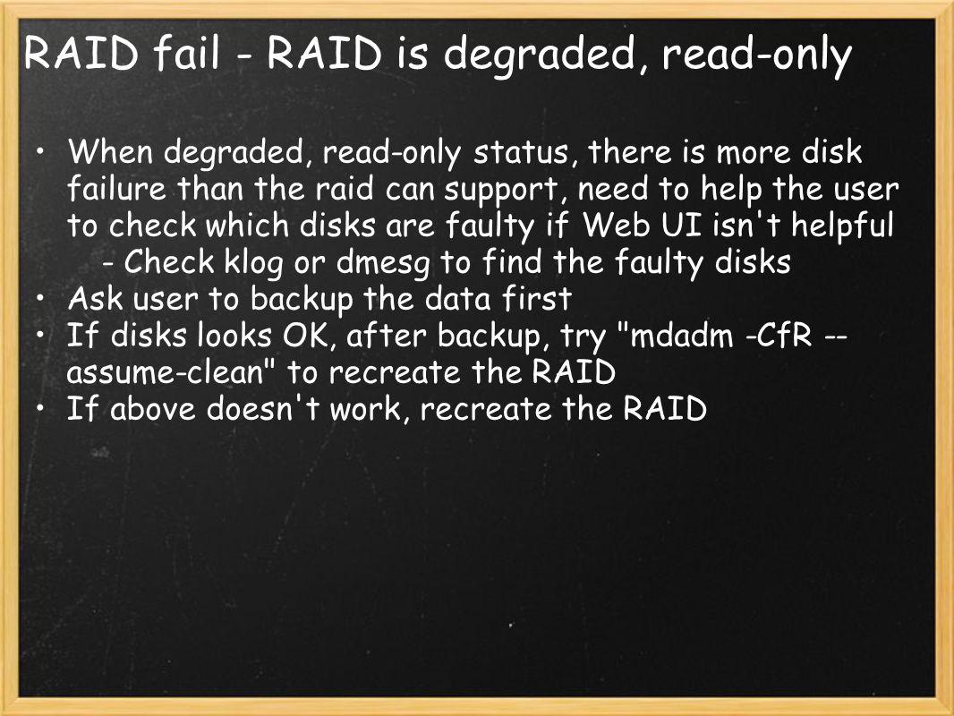 RAID fail - RAID is degraded, read-only