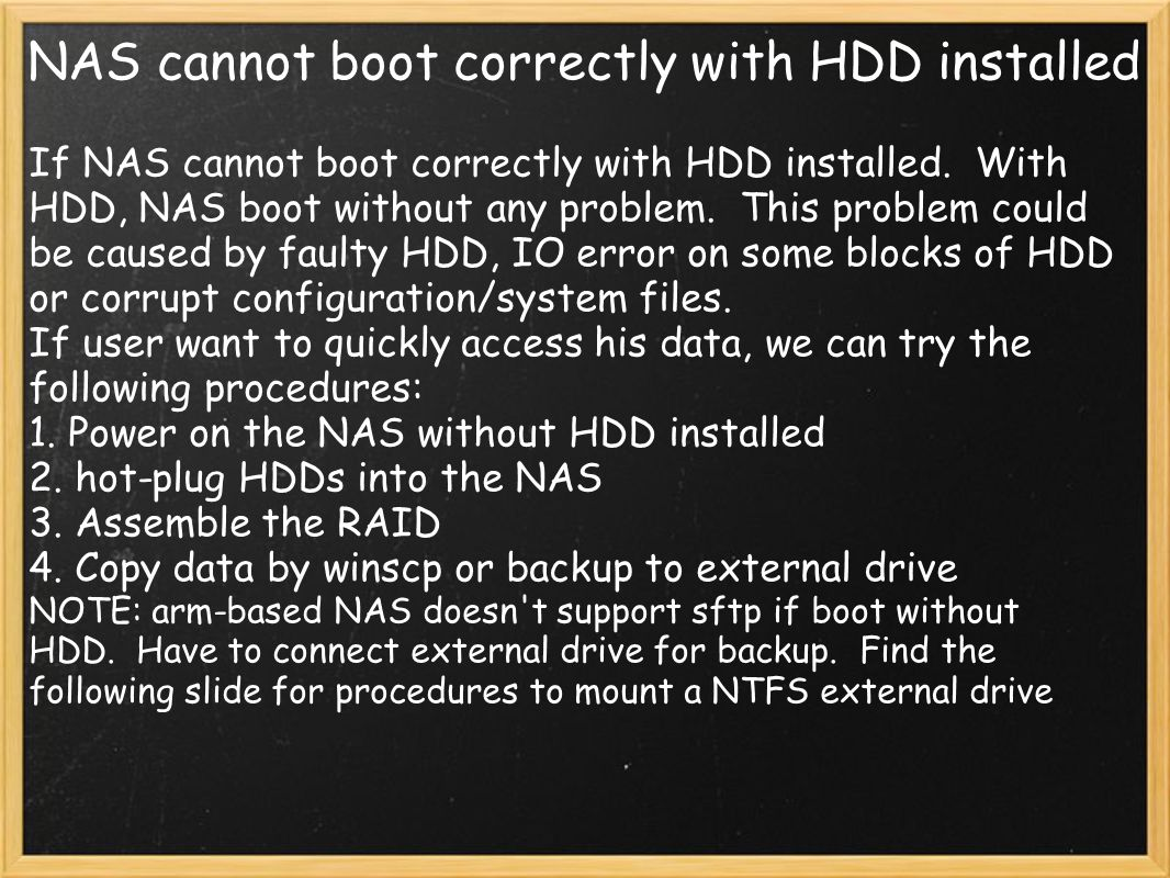 NAS cannot boot correctly with HDD installed