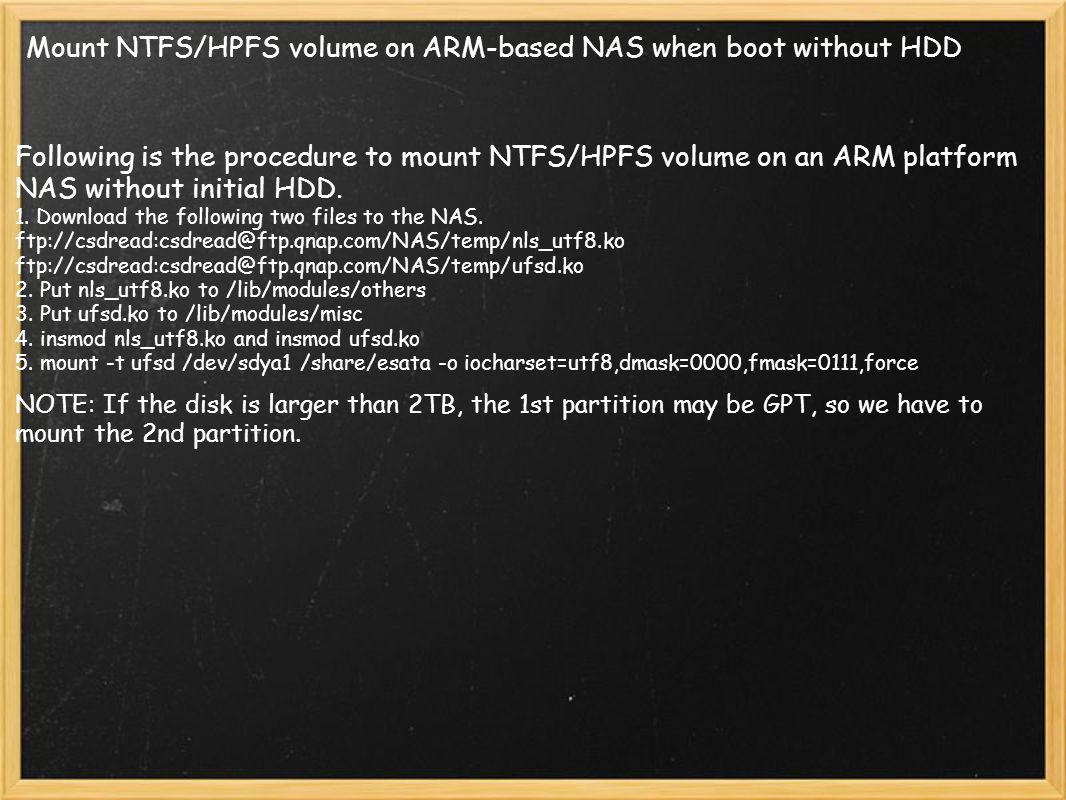 Mount NTFS/HPFS volume on ARM-based NAS when boot without HDD