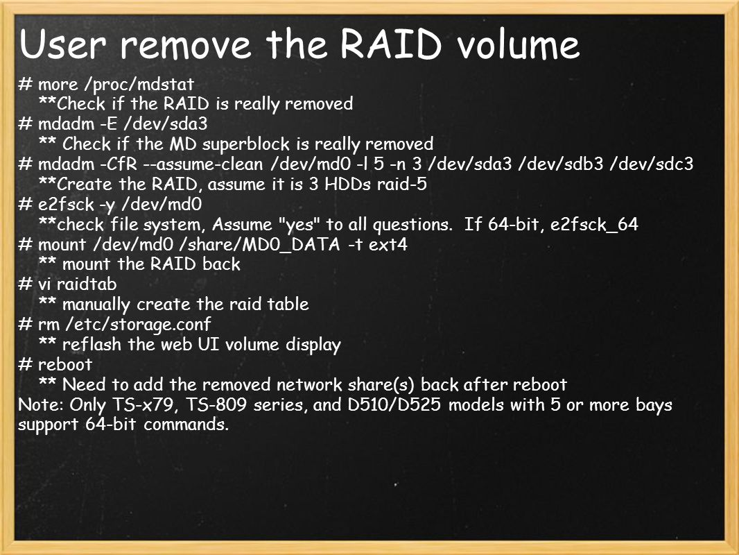 User remove the RAID volume