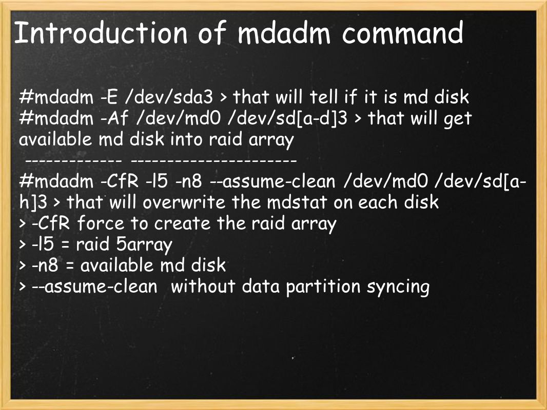 Introduction of mdadm command
