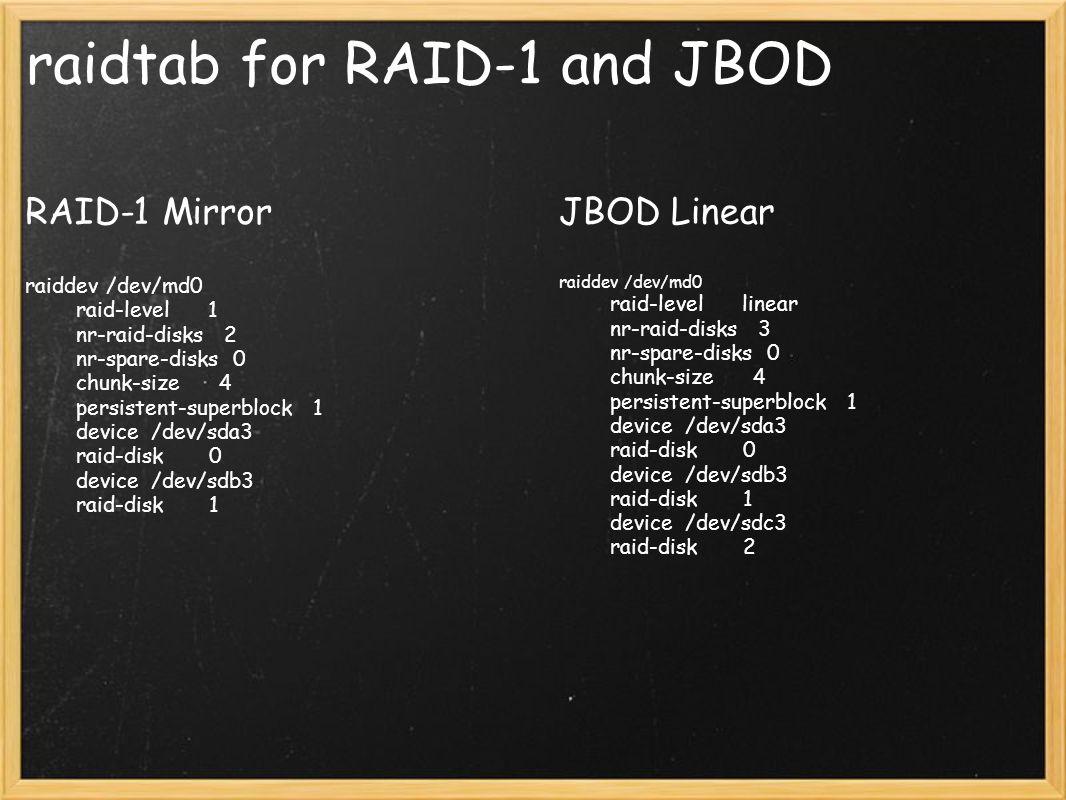 raidtab for RAID-1 and JBOD