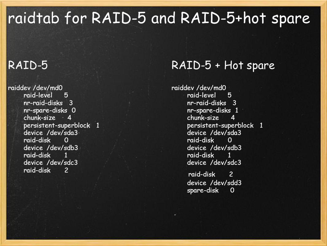raidtab for RAID-5 and RAID-5+hot spare