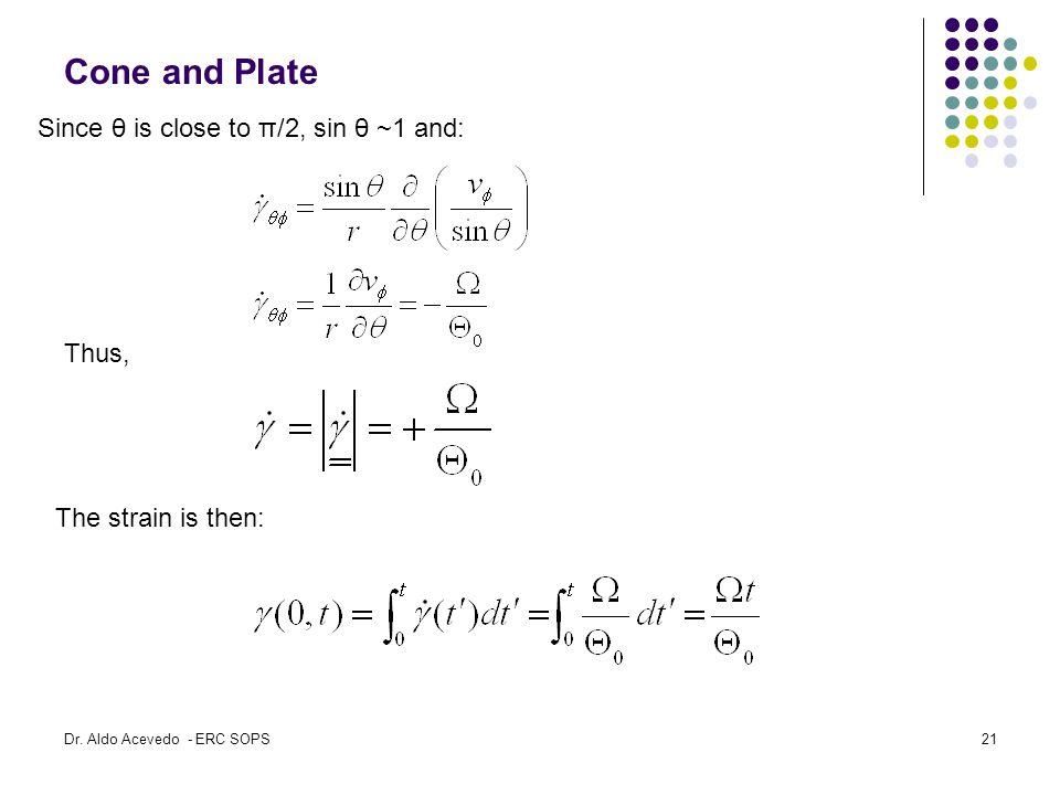 Cone and Plate Since θ is close to π/2, sin θ ~1 and: Thus,