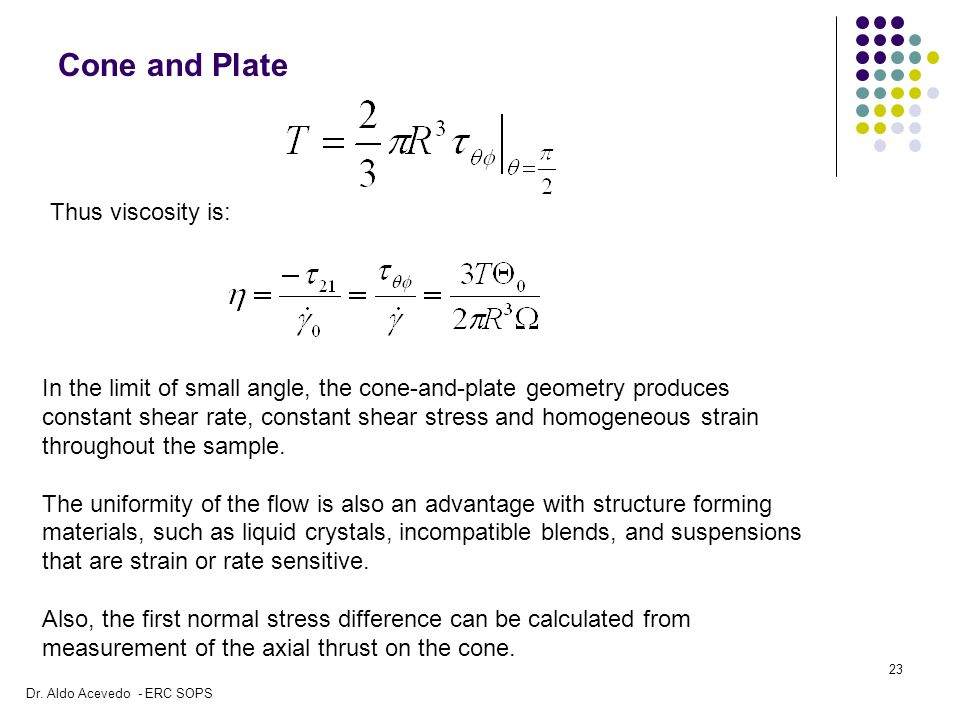 Cone and Plate Thus viscosity is: