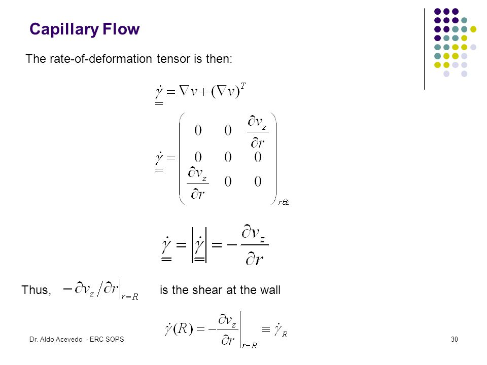 Capillary Flow The rate-of-deformation tensor is then: