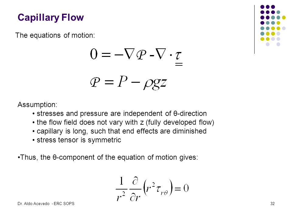 Capillary Flow The equations of motion: Assumption: