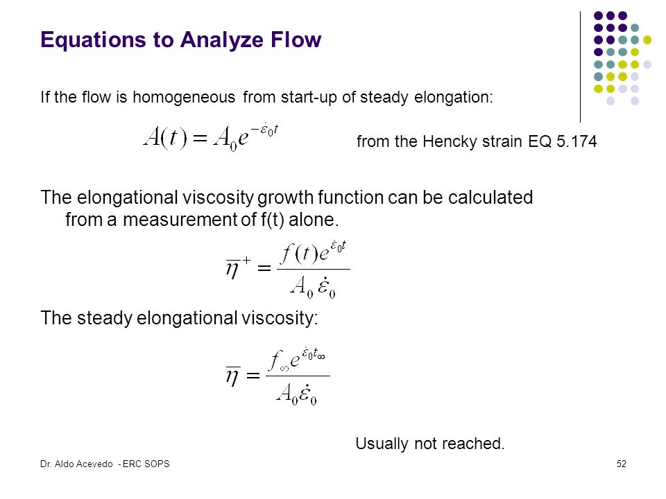 Equations to Analyze Flow