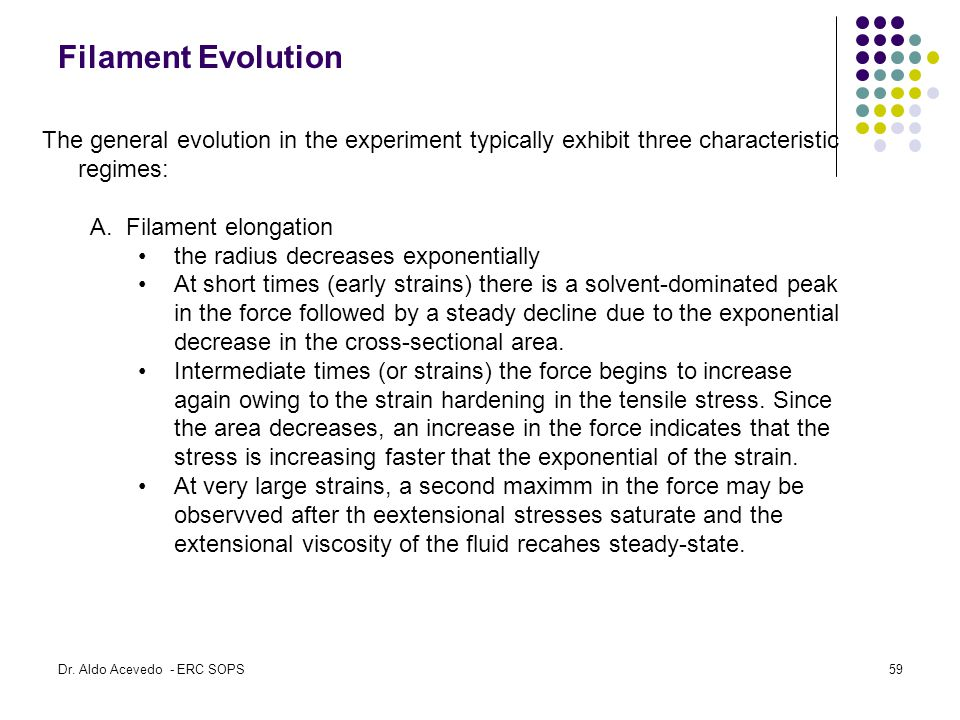 Filament Evolution The general evolution in the experiment typically exhibit three characteristic regimes: