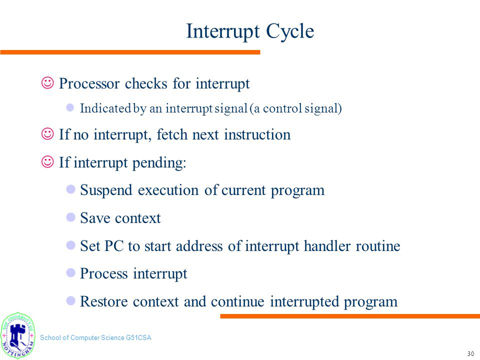 Interrupt Cycle Processor checks for interrupt
