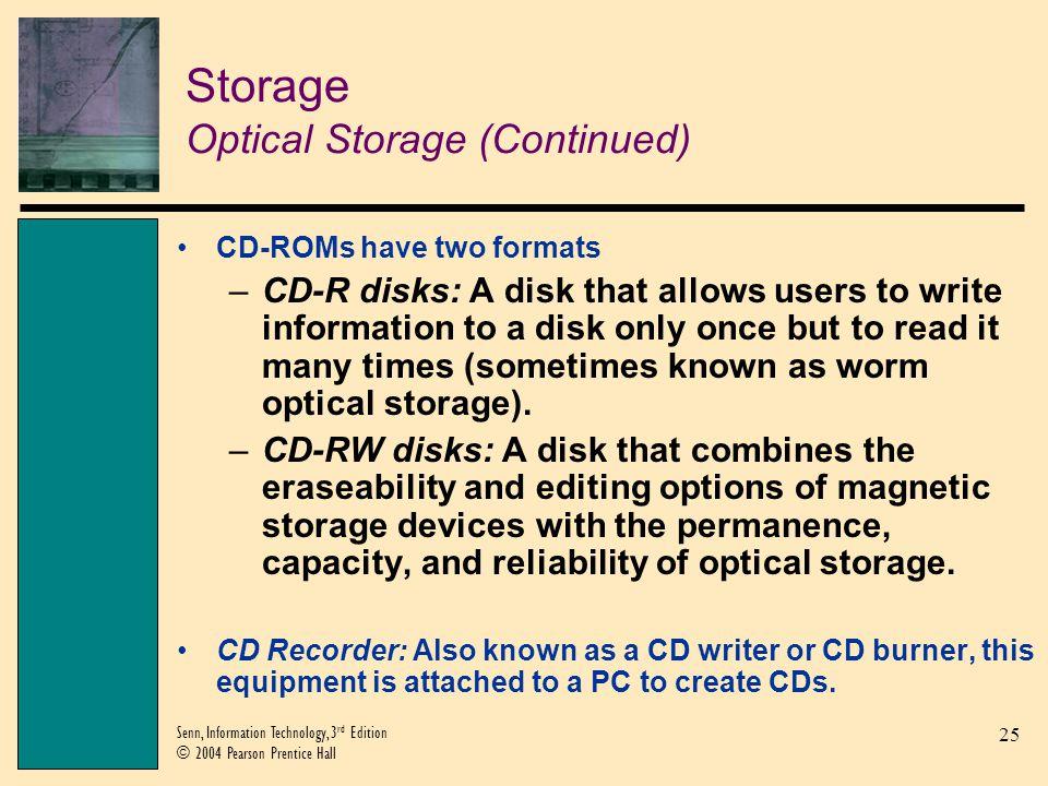 Storage Optical Storage (Continued)