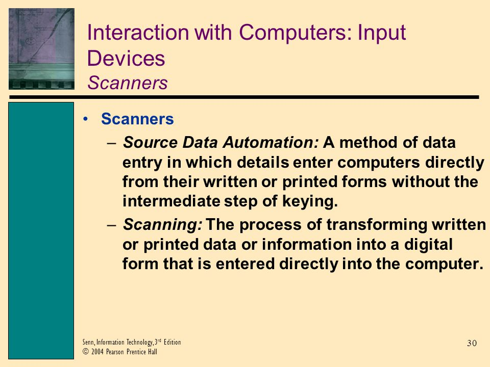 Interaction with Computers: Input Devices Scanners