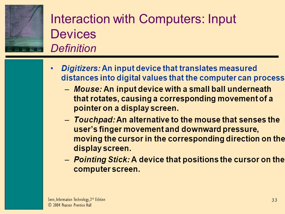 Interaction with Computers: Input Devices Definition