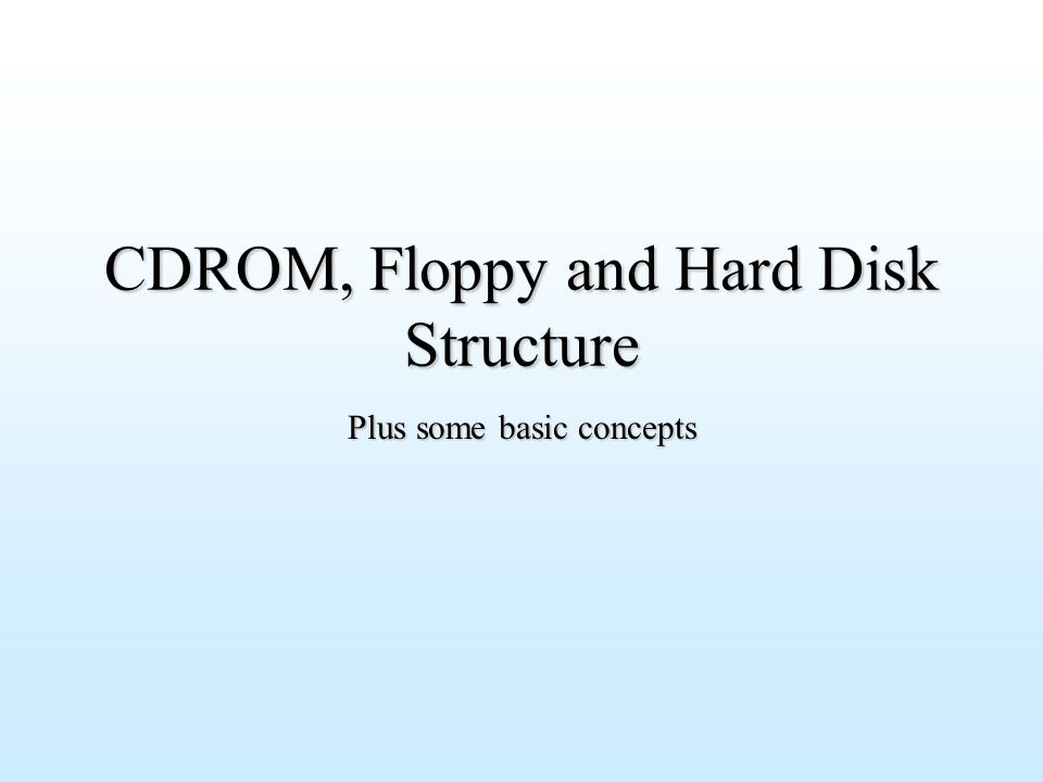 CDROM, Floppy and Hard Disk Structure