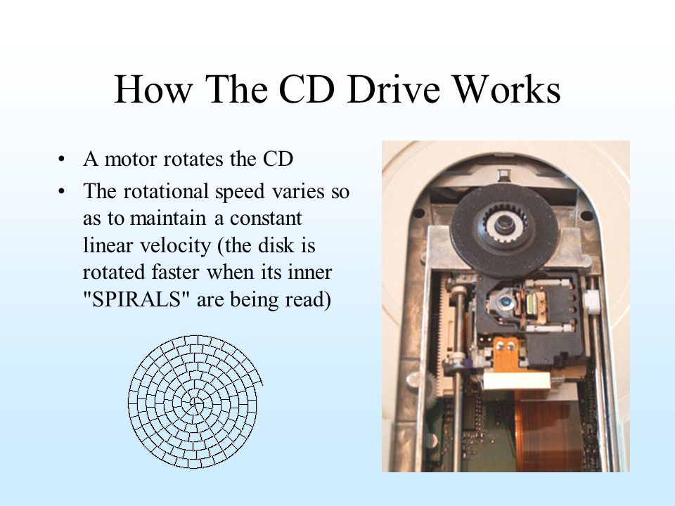 How The CD Drive Works A motor rotates the CD