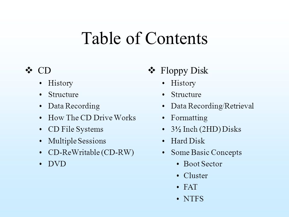 Table of Contents CD Floppy Disk History Structure Data Recording