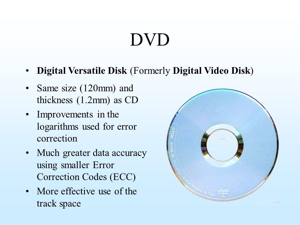 DVD Digital Versatile Disk (Formerly Digital Video Disk)
