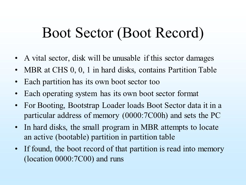 Boot Sector (Boot Record)