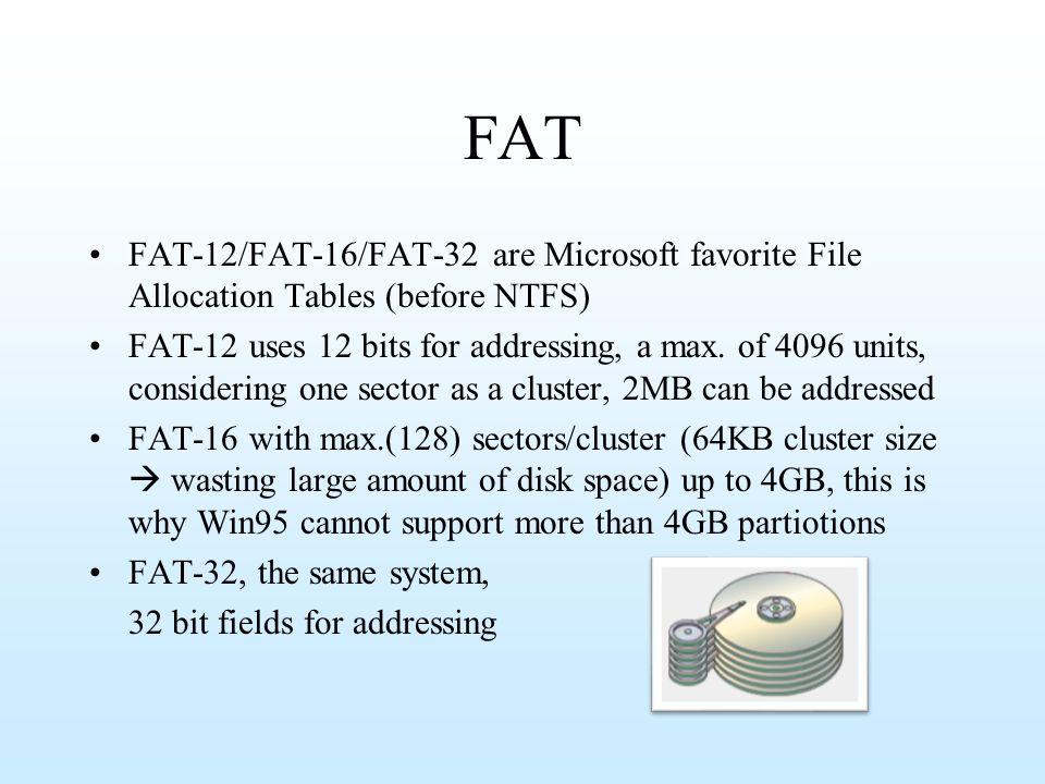 FAT FAT-12/FAT-16/FAT-32 are Microsoft favorite File Allocation Tables (before NTFS)