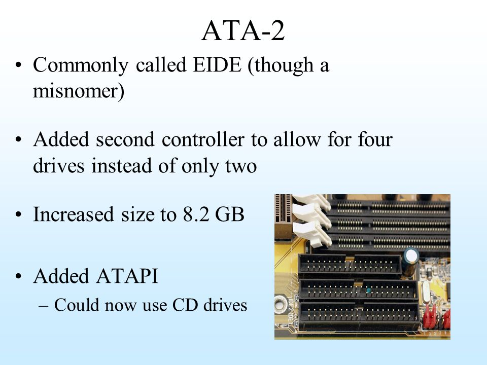 ATA-2 Commonly called EIDE (though a misnomer)