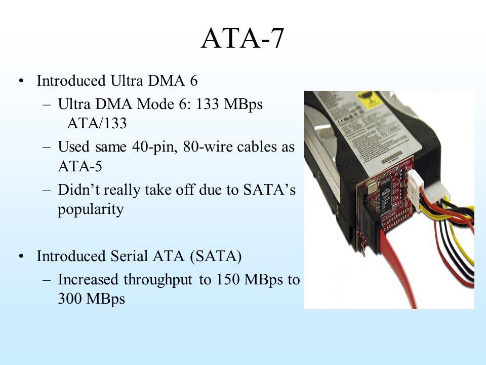 ATA-7 Introduced Ultra DMA 6 Ultra DMA Mode 6: 133 MBps ATA/133