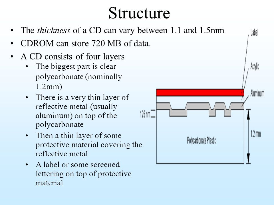 Structure The thickness of a CD can vary between 1.1 and 1.5mm