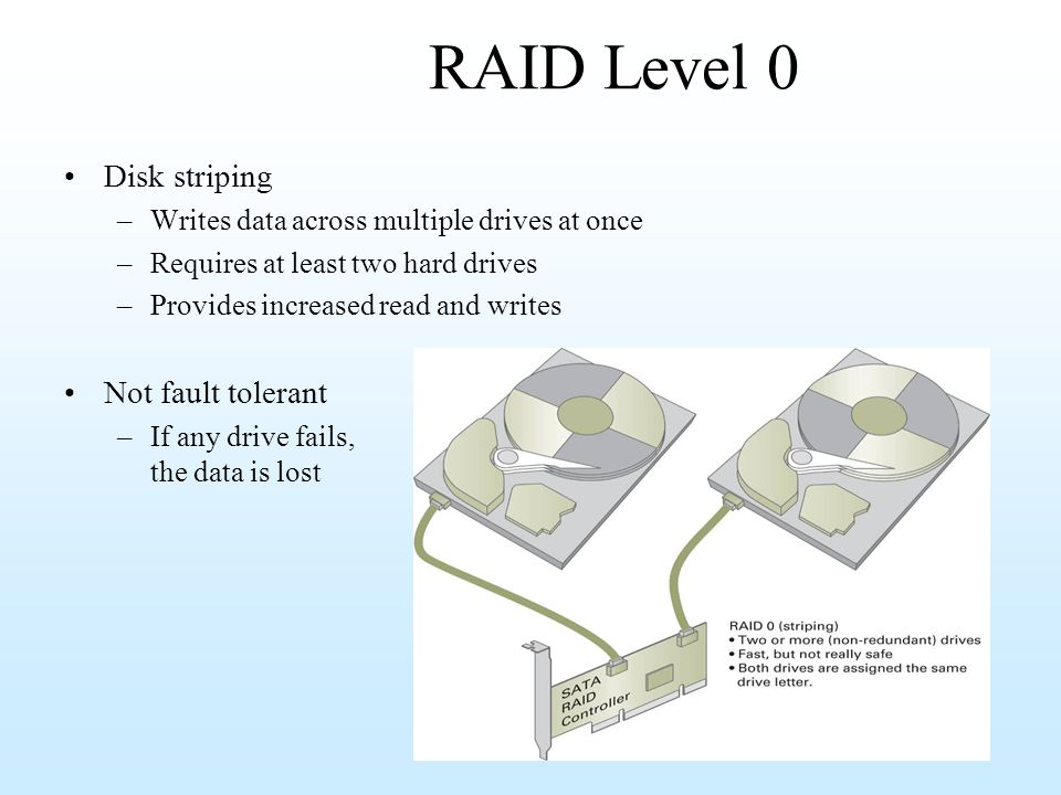 RAID Level 0 Disk striping Not fault tolerant