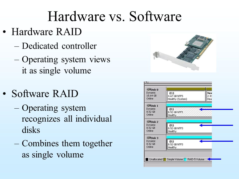 Hardware vs. Software Hardware RAID Software RAID Dedicated controller