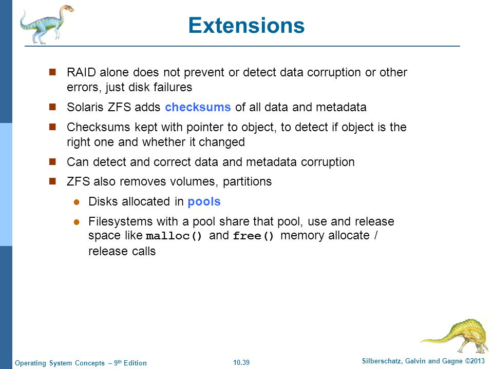 Extensions RAID alone does not prevent or detect data corruption or other errors, just disk failures.