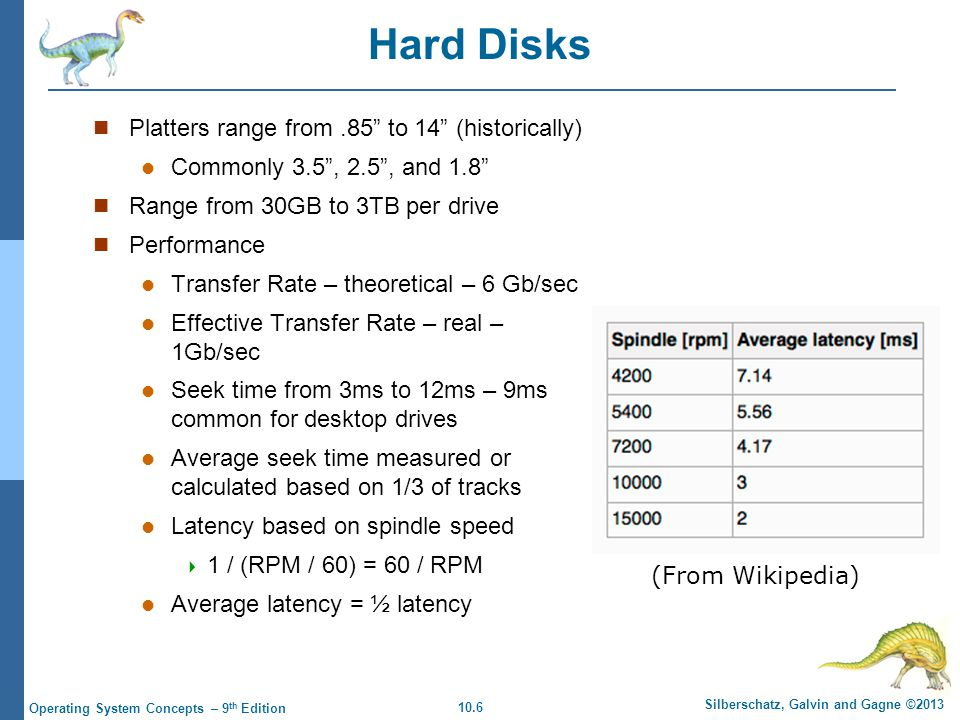 Hard Disks Platters range from .85 to 14 (historically)