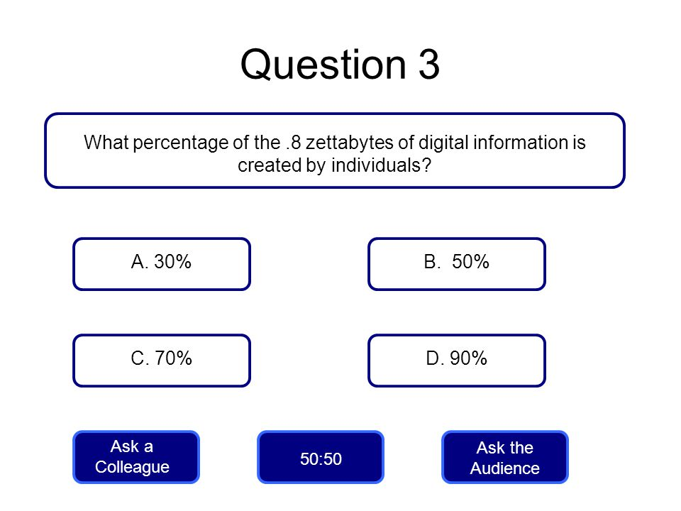 Question 3 What percentage of the .8 zettabytes of digital information is created by individuals A. 30%