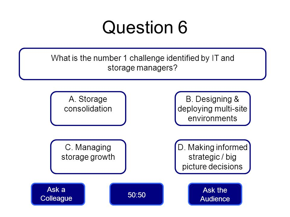 Question 6 What is the number 1 challenge identified by IT and storage managers A. Storage consolidation.