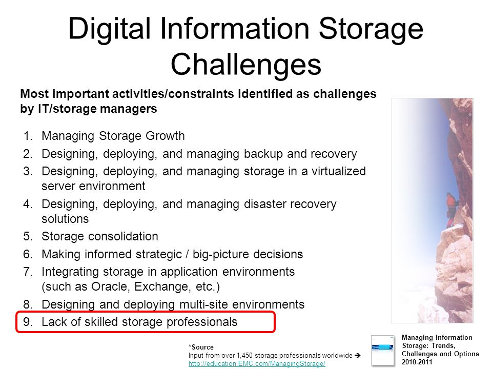 Digital Information Storage Challenges