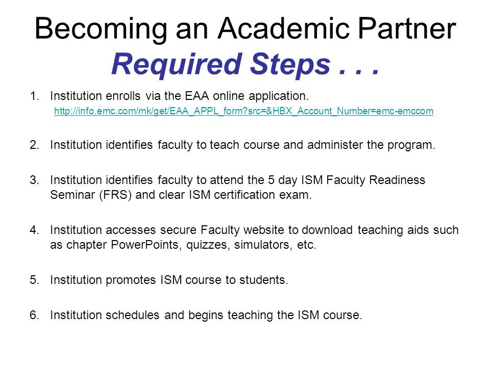 Becoming an Academic Partner Required Steps . . .