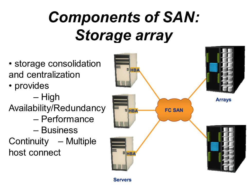 Components of SAN: Storage array