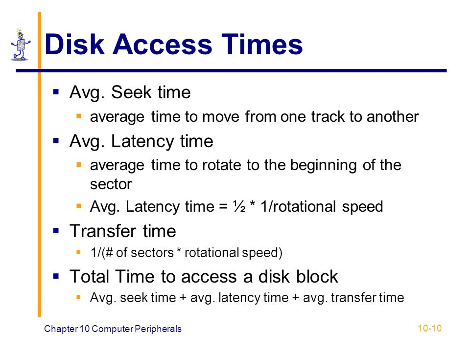 Disk Access Times Avg. Seek time Avg. Latency time Transfer time
