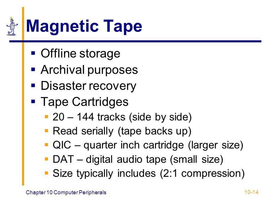 Magnetic Tape Offline storage Archival purposes Disaster recovery