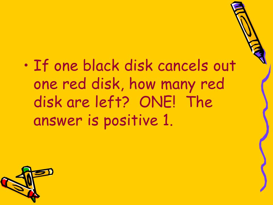 If one black disk cancels out one red disk, how many red disk are left