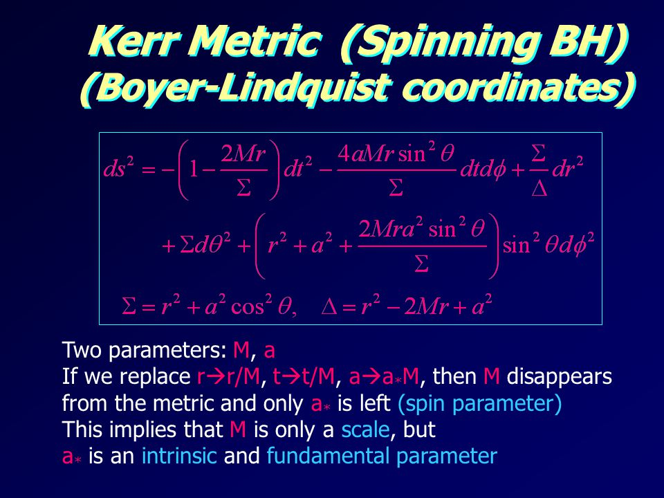 Kerr Metric (Spinning BH) (Boyer-Lindquist coordinates)