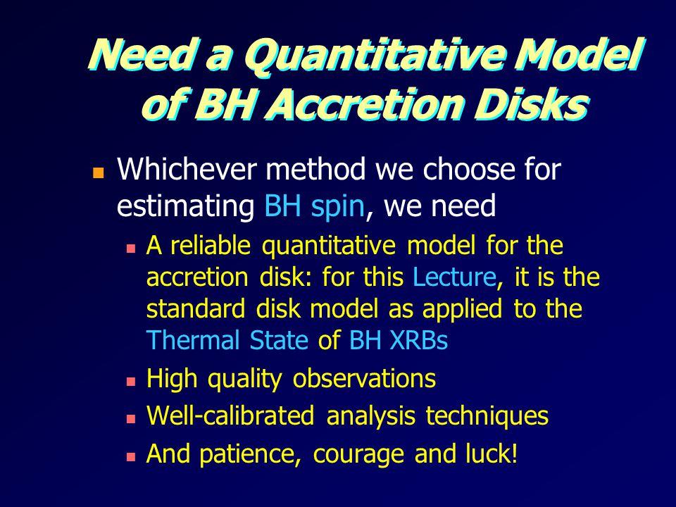 Need a Quantitative Model of BH Accretion Disks
